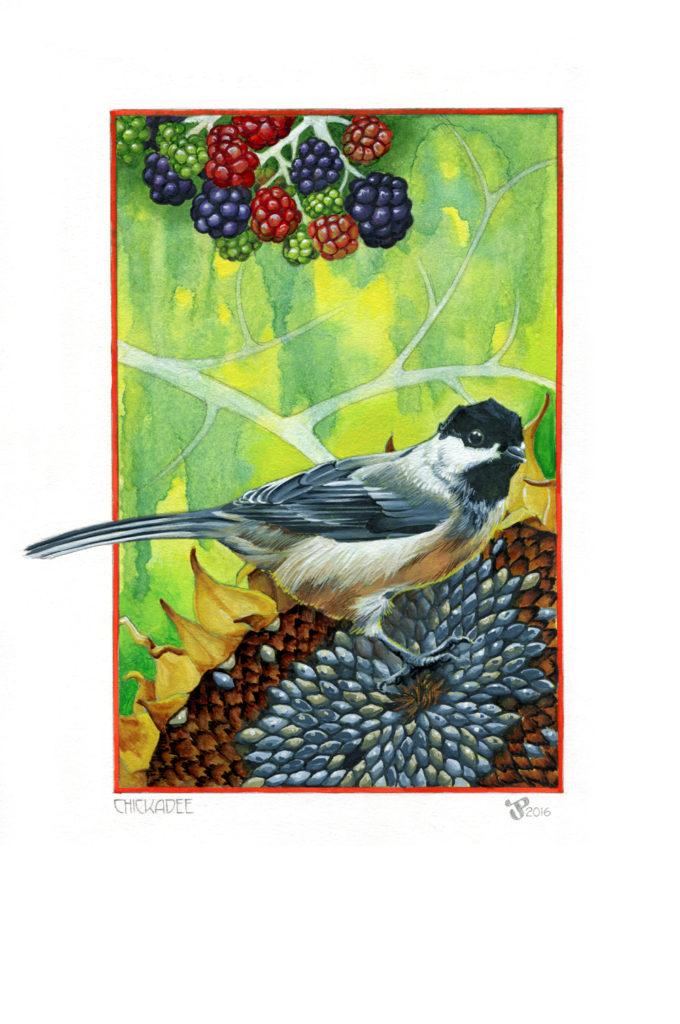 Gouache Painting - Chickadee