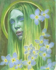 Gouache Painting - Bluet