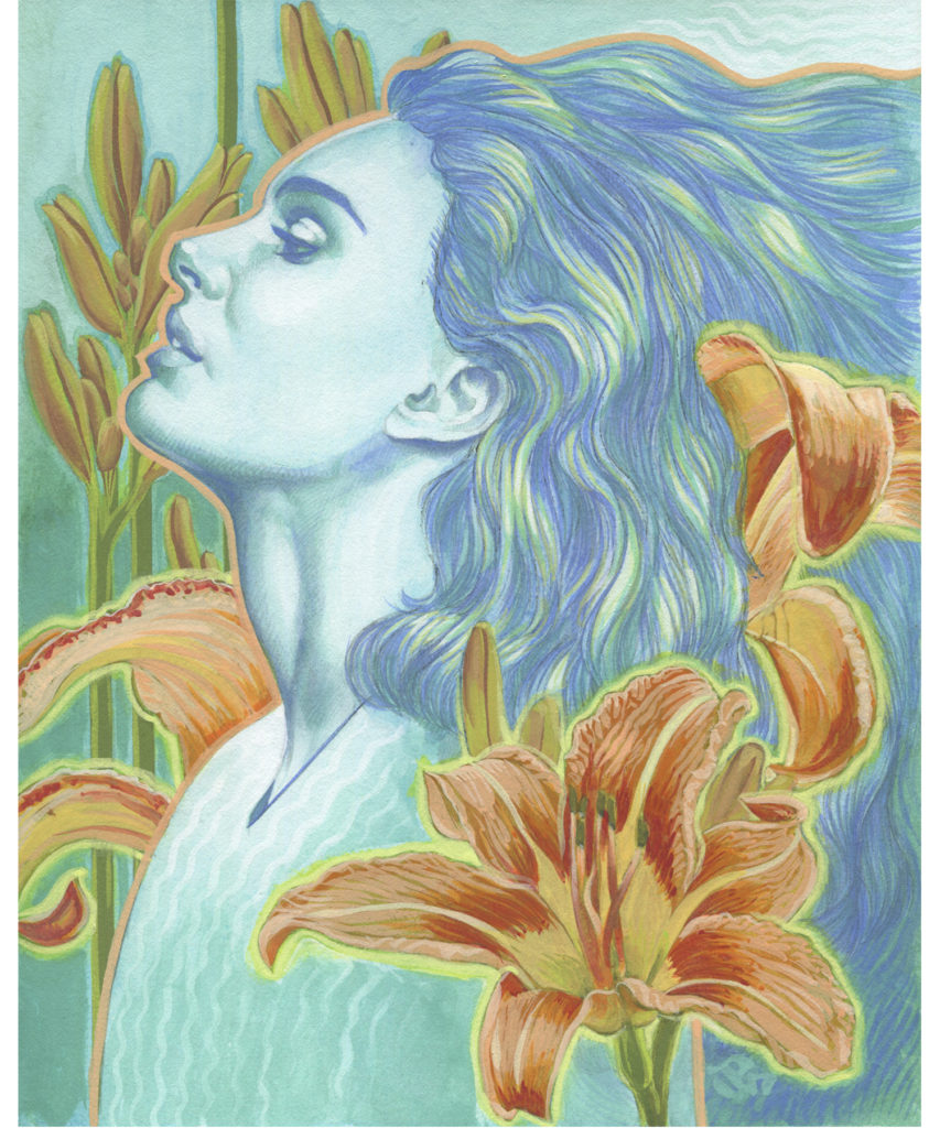Gouache Painting - Day Lily Ghost