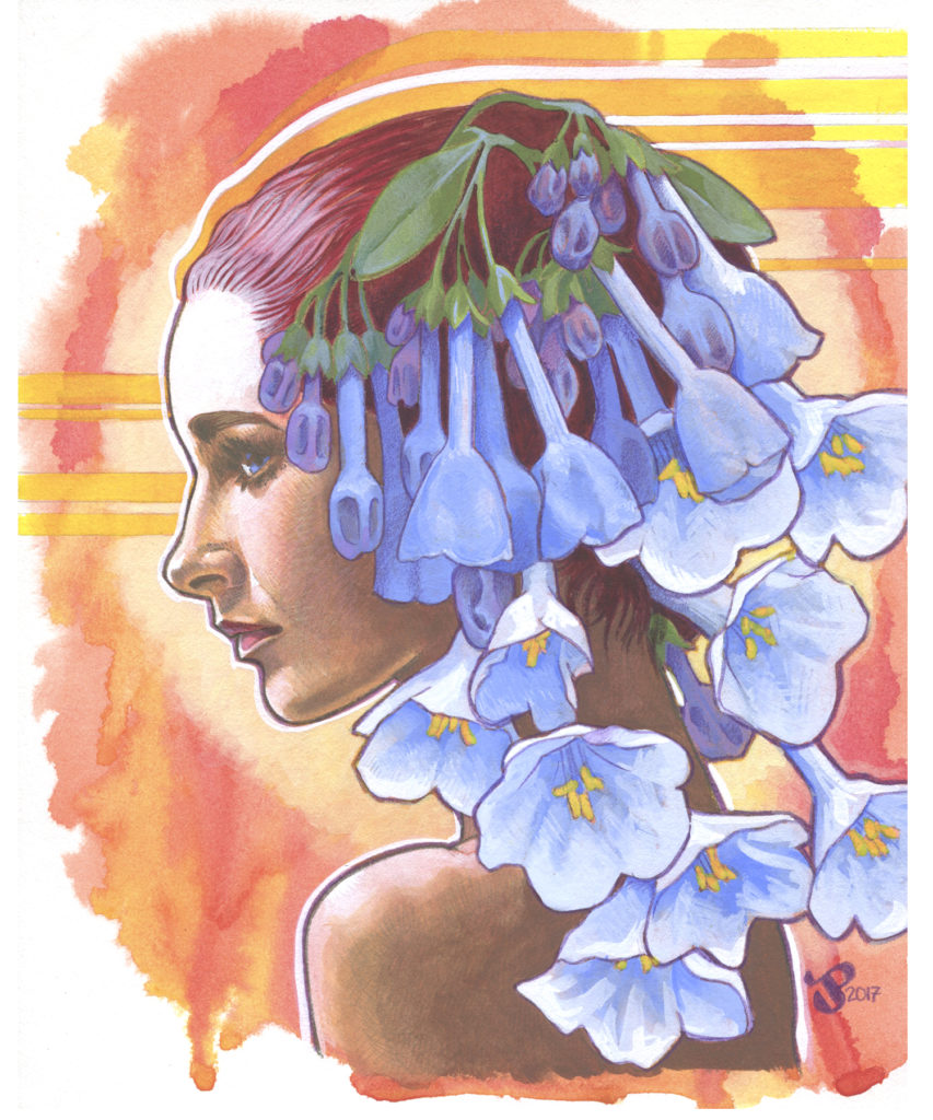 Gouache Painting - Lady Bluebell
